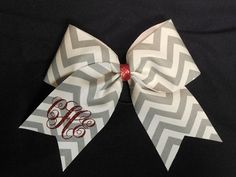 Chevron Cheer Bow with Monogram by AlexaPaisleyDesigns on Etsy, $14.00