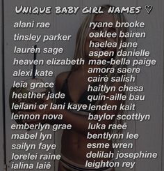 Pretty Baby Girl Names, Pretty Names, Cool Baby Names, Cute Names, Unique Baby Names, Kid Names, Southern Baby Names, Aesthetic Names, Baby Life Hacks