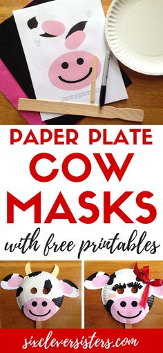 Chick-fil-a Cow Appreciation Day   Cow Appreciation Day Ideas   Chick-fil-A Cow Mask   Chickfila Cow Day   Paper Plate Crafts   Paper Plate Cow   Paper Plate Cow Craft   Cow Mask   Cow Mask for Kids   CFA   Chickfila Day   Cow Face   Are you ready to #eatmorechikin ? If you're a family that loves Chick-fil-a, you know what Cow Appreciation Day means! And, Six Clever Sisters has easy cow masks ideas for you for the whole family!