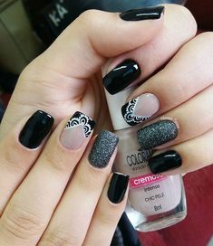 Ideas fails design gel black gold glitter for 2019 Matte Nails, My Nails, Acrylic Nails, Fall Manicure, Manicure E Pedicure, Arabesque, Easy Nail Art, French Nails, Nail Arts