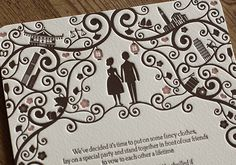 Fantastic letterpressed wedding stationery from Artcadia with illustrations from Lydia Lapinski
