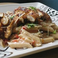 An Italian version of stir-fry, this tasty dish mixes cubed, boneless chicken and penne pasta with red and green peppers, garlic, tomatoes, oregano, and basil for an easy weeknight supper.  Allrecipes.com