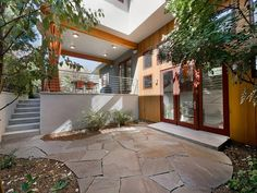 flagstone, sweet covered patio with curtains for privacy