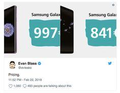 Bocoran Harga Samsung Galaxy S9 dan Galaxy S9+ -Hari Minggu 25 Februari 2018, resmi sudah duo Galaxy S9 dan S9+ sebagai flagship Samsung terbaru akan diungkap. Sebagaimana kebiasaan yang sudah-sudah, puluhan bocoran dan rumor di internet mengiringi kemunculannya. Hampir semua hal tentang spesifikasi Galaxy S9 sudah