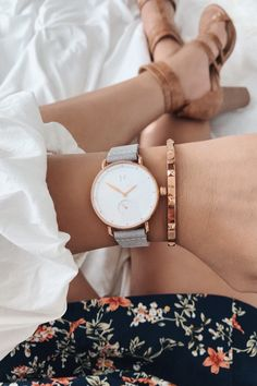 Buy MVMT Women's Bloom Leather Strap Watch, Grey/White Grey/White from our Women's Watches range at John Lewis & Partners. Most Popular Watches, Smart Watch Apple, Leather Watch Bands, Watch Sale, Women's Accessories, Women's Watches, Leather Watches, Bloom, Lilac