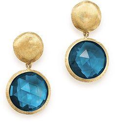 Marco Bicego 18K Yellow Gold Jaipur London Blue Topaz Double Drop Earrings