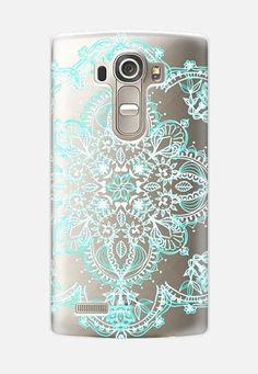 Aqua and White Lace Mandala - transparent LG G4 Case by Micklyn Le Feuvre…
