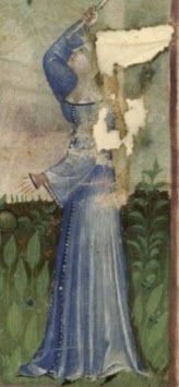 1390-1400, Nouvelle acquisition latine 1673, fol. 3v: Harvest of peaches Nouvelle acquisition latine 1673, fol. 9, Harvest of sweet cherries Many buttons, wide neckline: in this case we can see wide sleeves and a red dress under them.