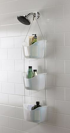 Save - Now Only The Umbra Bask Shower Caddy is a must for your bathroom! Use the hooks provided to hook the caddy over you shower rail or shower head.Umbra Bask White Hanging Bathroom Shower Tidy - White - at Victorian Plumbing Organization Prod Bathroom Organization, Bathroom Storage, Small Bathroom, Dorm Bathroom, In Shower Storage, Red Bathrooms, Compact Bathroom, Hanging Shower Caddy, Hanging Basket