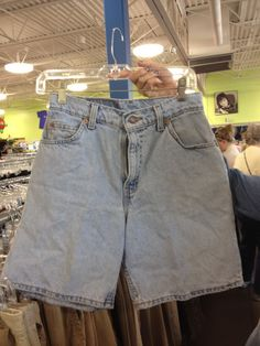 DIY cute) high-waisted shorts from Goodwill... the finished product is soo cute!