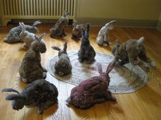 """Suzanne Proulx sculpture: """"Dust Bunnies"""" [2 1/2 years' worth of household dust and lint]"""