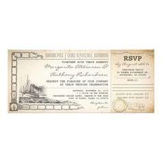 "boarding pass cruise wedding invites with rsvp boarding pass - cruise wedding invitation tickets with rsvp in one and with cruise ship drawing on vintage old design. I suggest the ""Linen"" or ""Felt"" paper for this design. If you need more additional products (like rsvp, reception, letterheads, wedding stickers etc), please contact me."