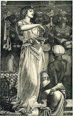 """Cleopatra"" - Frederick Sandys, wood engraving on paper"