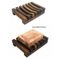 Wish | Soap Dish , KOOTIPS Modern Antique Charcoal Wooden Bathroom Soap Dish / Kitchen & Bath Soap Saver Tray