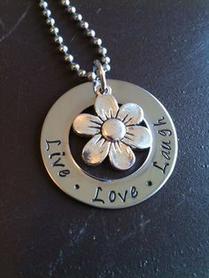 Mothers Day Sale Metal Hand Stamped Jewelry Flower Charm Necklace Pendant. $22.00, via Etsy.