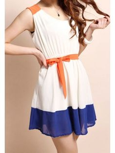 Retro Colorblocked Casual Dress. Love the colors... Wish it were a maxi...