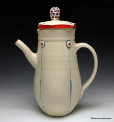 Red White and Blue Button Ceramic Teapot/Coffee by rebeccalowery