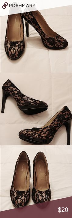 Attention black lace heels Black and tan lace heels  Never worn attention Shoes Heels