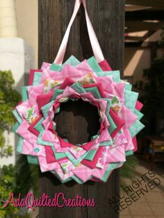 Your place to buy and sell all things handmade Quilted Ornaments, Fabric Ornaments, Fabric Wreath, Fabric Decor, Spring Front Door Wreaths, Christening Gifts, Newborn Baby Gifts, Decor Crafts, Thoughtful Gifts