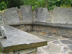 Stone bench - fire pit in the middle