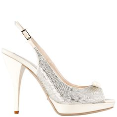 Ivory silk #open-toe #sling-back completely covered in #Swarovski crystals    e.shop GREYMER WHITE #weddingshoes