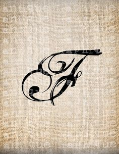 Antique Letter F Script Monogram Digital Download for Dictionary Pages, Papercrafts, Transfer, Pillows, etc.Burlap No 7519