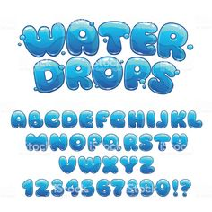 Illustration of Cartoon water drops font, funny blue alphabet, vector water letters and numbers vector art, clipart and stock vectors. Hand Lettering Alphabet, Doodle Lettering, Creative Lettering, Graffiti Lettering, Doodle Fonts, Lettering Styles, Font Styles, Doodle Art, Typography