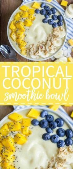 This tropical coconut smoothie bowl is an energizing breakfast recipe made with fresh fruit and natural ingredients. The base is filled with tropical fruits like mango and pineapple and it's thickened with coconut milk. Top this smoothie bowl with your fa Healthy Breakfast Smoothies, Healthy Drinks, Healthy Snacks, Healthy Recipes, Healthy Breakfasts, Vegetarian Smoothies, Milk Recipes, Smoothie Fruit, Coconut Smoothie