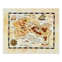 Insel der Möglichkeits-Schatz-Karte Poster