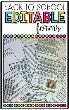 Editable Back to School Forms for Meet the Teacher or Open House!