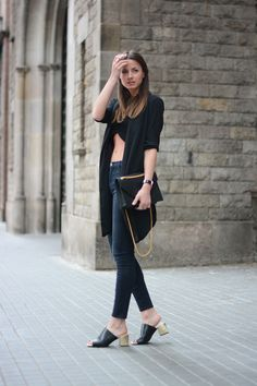 Zina Charkopoliac Is Wearing Mules And Crop Top From Zara, The Bag Is From Saint Laurent, Jeans From J. Brand, And The Blazer Is From Gina T...