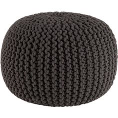 knitted graphite pouf in ottomans, benches | CB2 $89.95
