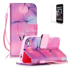 iPhone 4/4S Case [with Free Screen Protector], Funyye Premium PU Leather Wallet Embedded Flip Magnetic Detachable Close Lock with [Lanyard Strap] and [Credit Card Holder Slots] Smart Standing Folio Book Style Type Fashion Ultra Slim Fit Protective Folder Case Cover Skin for Apple iPhone 4/4S - Dream