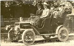 Photograph from 1906-1909 of the Traeger family in a car. This was the second car in town.  (White River Valley Museum and the Mary Olson Farm)