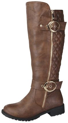 8ba1e4dcd43 Women s Paper-33 Knee-High Quilted Leather Buckle Zip Riding Boot - Brown -