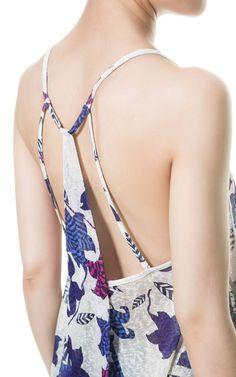 플라워 패턴 끈나시 탑상의 - 티셔츠 - TRF - ZARA 대한민국