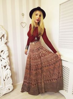 Vtg ETHNIC Indian Natural Aztec RUSTIC Hippy Free People FULL MAXI wrap skirt M