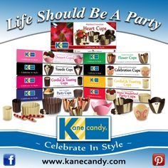 Kane Candy Shoppe offers premium chocolates, party candies & more! Chocolate Party, Chocolate Cups, Chocolate Desserts, Party Desserts, Mini Desserts, Christmas Desserts, Chocolate Shells, Best Party Food, Bulk Candy