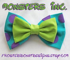 Monsters Inc. Sulley and Mike Bow by FrostedDonutDesigns Mike Bow, Monster Inc Birthday, Disney Hair Bows, Ribbon Bows, Ribbons, Ribbon Flower, Ribbon Hair, Fabric Flowers, Diy Hair Accessories