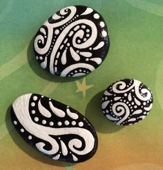 Black and white hand painted river Rock magnets by Jessica Vogan …