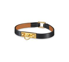 Micro Rivale Leather bracelet in Black Chamonix calfskin, gold-plated clasp (wrist size: 17.7 cm)