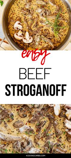 Beef Stroganoff without the carbs? Count me in! This Easy Beef Stroganoff is every bit as good as the original. The rich and creamy sauce will keep you coming back for more. #kickingcarbs #ketobeef #easyrecipes #ketodinnerrecipes Keto Lunch Ideas, Lchf Diet, Sirloin Steaks, Beef Stroganoff, Creamy Sauce, Perfect Food, Keto Dinner, No Carb Diets, Ground Beef