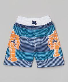 Look what I found on #zulily! Blue & Orange Stripe Robot Swim Trunks - Infant, Toddler & Boys #zulilyfinds