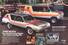 New for Ford Pinto Cruising Wagon and Ford Cruising Van. Station Wagon, Ford Pinto, Pub Vintage, Vintage Racing, Vanz, Cool Vans, Car Advertising, Us Cars, Custom Vans