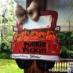 Punkin Pickin Truck Fall Pumpkins Door hanger by TheWaywardWhimsy on Etsy https://www.etsy.com/listing/201452364/punkin-pickin-truck-fall-pumpkins-door