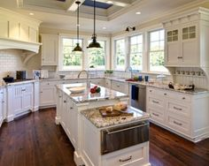 white kitchen with navy ceiling