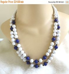 Vintage 2 Strand Beaded Necklace in White & Deep Blue Beads by MyVintageJewels on Etsy