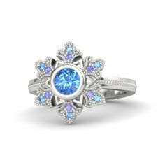 Round Blue Topaz Sterling Silver Ring with Blue Topaz & Tanzanite - Snowflake Ring | Gemvara
