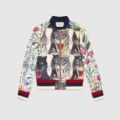 2a669d27e Shop the Patchwork print silk bomber by Gucci. The silk bomber jacket, an  essential