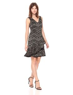 Tommy Hilfiger Womens Metallic Floral Knit V Neck Dress with Layered Flounce Hem Black/Gold 8 >>> Click on the image for additional details. (This is an affiliate link) #TommyHilfigerWomen Dresses For Work, Formal Dresses, Tommy Hilfiger Women, V Neck Dress, Black Gold, Fashion Brands, Topshop, Metallic, Knitting